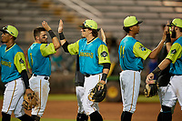 Bradenton Barbanegras Mason Martin (47) high fives Jesse Medrano (3) after a Florida State League game against the St. Lucie Mets on July 27, 2019 at LECOM Park in Bradenton, Florida.  Bradenton defeated St. Lucie 3-2.  (Mike Janes/Four Seam Images)