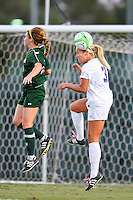 TCU midfielder Makenzie Koch (3) executes a header during first half of NCAA soccer game, Friday, October 03, 2014 in Waco, Tex. TCU and Baylor are tied 1-1 at the halftime. (Mo Khursheed/TFV Media via AP Images)