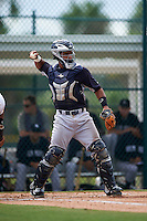GCL Yankees 2 catcher Eduardo Navas (79) during the first game of a doubleheader against the GCL Pirates on July 31, 2015 at the Pirate City in Bradenton, Florida.  GCL Pirates defeated the GCL Yankees 2 2-1.  (Mike Janes/Four Seam Images)