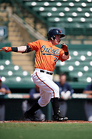 Baltimore Orioles catcher Ben Breazeale (79) at bat during an Instructional League game against the Atlanta Braves on September 25, 2017 at Ed Smith Stadium in Sarasota, Florida.  (Mike Janes/Four Seam Images)