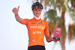 Most aggressive rider from yesterday's stage Joan Bou (ESP)<br /> Euskaltel-Euskadi at sign on before the start of Stage 7 of La Vuelta d'Espana 2021, running 152km from Gandia to Balcon de Alicante, Spain. 20th August 2021.     <br /> Picture: Luis Angel Gomez/Photogomezsport | Cyclefile<br /> <br /> All photos usage must carry mandatory copyright credit (© Cyclefile | Luis Angel Gomez/Photogomezsport)