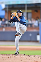 Columbia Fireflies starting pitcher Marcel Renteria (24) delivers a pitch during a game against the Asheville Tourists at McCormick Field on August 3, 2018 in Asheville, North Carolina. The Fireflies defeated the Tourists 6-3. (Tony Farlow/Four Seam Images)