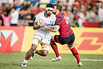 Savelio Ropati of Samoa runs with the ball during the match Wales vs Samoa, Day 2 of the HSBC Singapore Rugby Sevens as part of the World Rugby HSBC World Rugby Sevens Series 2016-17 at the National Stadium on 16 April 2017 in Singapore. Photo by Victor Fraile / Power Sport Images