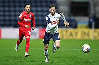 31st October 2020; Deepdale Stadium, Preston, Lancashire, England; English Football League Championship Football, Preston North End versus Birmingham City; Alan Browne of Preston North End races after the ball