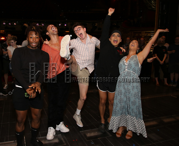 """Broadway debuts: Olutayo Bosede, Caleb Marshall, Evan Kinnane, Jeigh Madjus and Karli Dinardo during the Broadway Opening Night Legacy Robe Ceremony honoring Bahiyah Hibah for  """"Moulin Rouge! The Musical"""" at the Al Hirschfeld Theatre on July 25,2019 in New York City."""