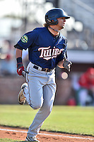 Johnson City Cardinals center fielder Christian Cavaness (8) runs to first during a game against the Elizabethton Twins at Howard Johnson Field at Cardinal Park on June 26, 2016 in Johnson City, Tennessee. The Twins defeated the Cardinals 13-12. (Tony Farlow/Four Seam Images)