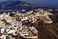 Santorini, Greek Islands, Firostefani, Cyclades, Greece, Europe, Village of Firostefani on the steep hillside of Santorini Island on the Aegean Sea.