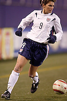 """USA's Mia Hamm. The US Women's National Team tied the Denmark Women's National Team 1 to 1 during game 8 of the 10 game the """"Fan Celebration Tour"""" at Giant's Stadium, East Rutherford, NJ, on Wednesday, November 3, 2004.."""