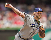 26 April 2014: San Diego Padres pitcher Andrew Cashner on the mound against the Washington Nationals at Nationals Park in Washington, DC. The Nationals defeated the Padres 4-0 to take the third game of their 4-game series. Mandatory Credit: Ed Wolfstein Photo *** RAW (NEF) Image File Available ***