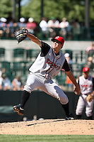 June 15th 2008:  Pitcher Brad Mills of the Lansing Lugnuts, Class-A affiliate of the Toronto Blue Jays, during a game at Dow Diamond in Midland, MI.  Photo by:  Mike Janes/Four Seam Images