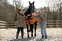 Pictured: Paul Sheldrake (R) with Kay Sinclair-James (L) and Ellerslie Tom in Clarbeston, Pembrokeshire, Wales, UK. Thursday 09 March 2017<br /> Re: Former race horse Ellerslie Tom that has been re-united with Paul Sheldrake, 45, after neighbour and friend Kay Sinclair-James, found him for sale.