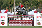 Liubov Kochetova of Russia and Comet compete in the inaugural $50,000 CN Palm Beach Jumping Derby on Sunday, Feb. 15 at the Stadium at Palm Beach International Equestrian Center in Wellington, Fla. Olympic gold medalist Beezie Madden and Play On bested 33 other starters from seven countries, including Olympic gold medalists Leslie Howard of the United States, Eric Lamaze of Canada and Rodrigo Pessoa of Brazil, winning $14,000. Peter Leone and Sequoyah's Ado Annie were second and Eric Lamaze Lord du Janue were third, winning $11,000 and $6,500, respectively. Formerly the site of Palm Beach Polo Stadium - made famous by the world's best polo players, steeplechase competitors and celebrities including Prince Charles and Princess Diana - the field came alive with a new derby course not often seen in the U.S. Part of the FTI Winter Equestrian Festival, the competition highlighted a type of show jumping popular in Europe. Nineteen natural obstacles and grand prix fences - including a double liverpool, water jump and a hedge - were mixed on a spread out course designed by Richard Jeffery of Great Britain, with extensive room between jumps. Photo by Bob Markey II.