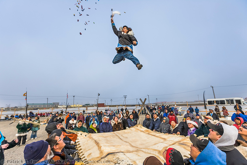The Blanket toss concludes the days outside activities for the Nalukataq festival in Utqiagvik (Barrow), Alaska, which celebrates the Inupiaq subsistence whale hunt.