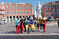 Nice le 22 Jiun 2016 Ambince Fan Zone Place Massena Supporter Suedois et Belge