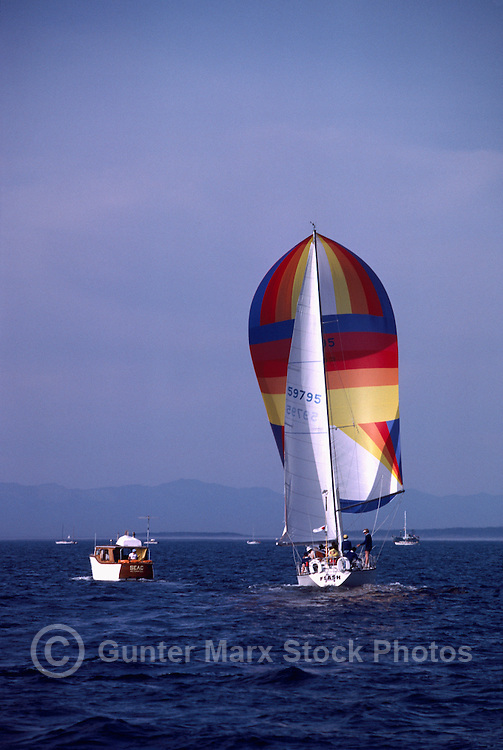 Sailboat sailing in Howe Sound near Vancouver, BC, British Columbia, Canada