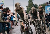 an incognito Sonny Colbrelli (ITA/Bahrain - Victorious) leaving the Carrefour de l'Arbre with Mathieu van der Poel (NED/Alpecin Fenix) & Florian Vermeersch (BEL/Lotto Soudal) in tow<br /> <br /> 118th Paris-Roubaix 2021 (1.UWT)<br /> One day race from Compiègne to Roubaix (FRA) (257.7km)<br /> <br /> ©kramon