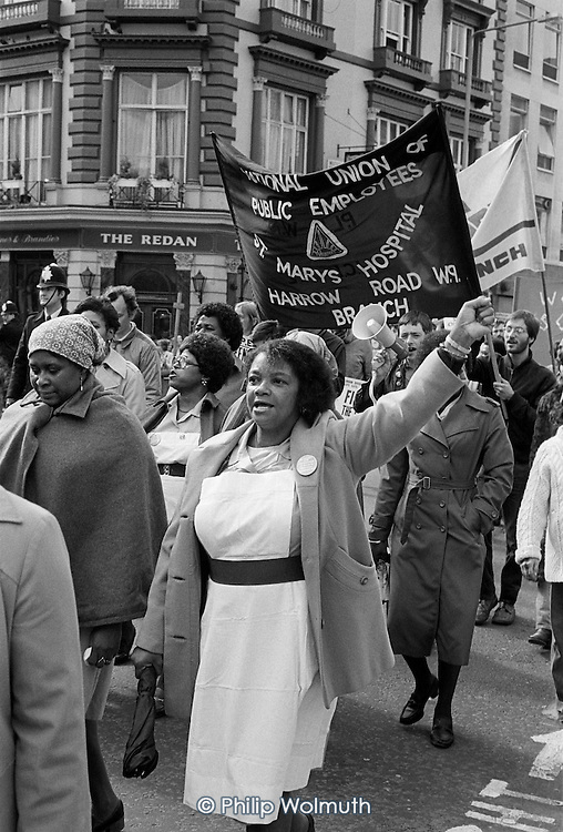 Workers at St.Mary's Hospital, Harrow Road, march in protest at the imposition of short-term contracts and the proposed closure of the hospital.