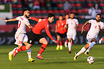 Son Heungmin of South Korea (C) fights for the ball with Komail Hasan Alaswad of Bahrain (L) during the AFC Asian Cup UAE 2019 Round of 16 match between South Korea (KOR) and Bahrain (BHR) at Rashid Stadium on 22 January 2019 in Dubai, United Arab Emirates. Photo by Marcio Rodrigo Machado / Power Sport Images