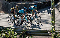 The leading trio attacking the last 2 climbs of the day:<br /> Jakob Fuglsang (DEN/Astana), Aleksandr Vlasov (RUS/Astana) & George Bennett (NZL/Jumbo Visma)<br /> <br /> 114th Il Lombardia 2020 (1.UWT)<br /> 1 day race from Bergamo to Como (ITA/231km) <br /> <br /> ©kramon