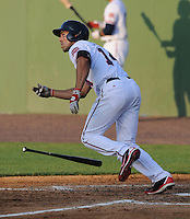 Outfielder Randolph Oduber (14) of the Potomac Nationals, a Washington Nationals affiliate, in a game against the Salem Red Sox on June 8, 2012, at Pfitzner Stadium in Woodbridge, Virginia. Potomac won, 5-4. (Tom Priddy/Four Seam Images)