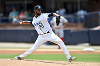 Asheville Tourists starting pitcher Frederis Parra (26) delivers a pitch during a game against the Lakewood BlueClaws at McCormick Field on August 4, 2019 in Asheville, North Carolina. The Tourists defeated the BlueClaws 13-6. (Tony Farlow/Four Seam Images)