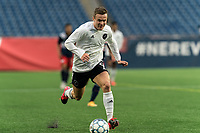 FOXBOROUGH, UNITED STATES - MAY 28: Mitchell Curry #9 of Fort Lauderdale CF on the attack during a game between Fort Lauderdale CF and New England Revolution II at Gillette Stadium on May 28, 2021 in Foxborough, Massachusetts.
