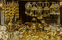 Kuwait March 1972.  Gold Jewelry hanging in a Jeweler's Window.