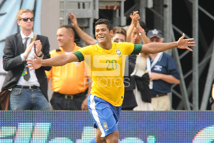Brazil forward Hulk (20) celebrates his score in the 72th minute of the game. The Argentina National Team defeated Brazil 4-3 at MetLife Stadium, Saturday July 9 , 2012.