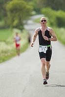 26 MAY 2013 - BRIGG, GBR - Michael Mason (Elite 23-39) of Durham Triathlon Club during the run at the 2013 Brigg Bomber Quadrathlon, a World Quadrathlon Federation World Cup round and the British Championships, held in Brigg, Lincolnshire, Great Britain .(PHOTO (C) 2013 NIGEL FARROW)