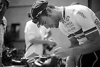 mechanic Mark Cavendish (GBR) working his bike<br /> <br /> Tour de France 2013<br /> restday 2