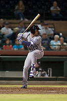 Salt River Rafters first baseman Josh Fuentes (19), of the Colorado Rockies organization, at bat during an Arizona Fall League game against the Scottsdale Scorpions at Scottsdale Stadium on October 12, 2018 in Scottsdale, Arizona. Scottsdale defeated Salt River 6-2. (Zachary Lucy/Four Seam Images)