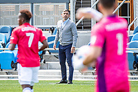 SAN JOSE, CA - APRIL 24: Luchi Gonzalez Head coach of FC Dallas shouts directions during a game between FC Dallas and San Jose Earthquakes at PayPal Park on April 24, 2021 in San Jose, California.