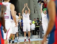 Nemanja Bjelica of Serbia celebrate during European basketball championship Eurobasket 2013, round 2, group E  basketball game between Serbia and France in Stozice Arena in Ljubljana, Slovenia, on September 15. 2013. (credit: Pedja Milosavljevic  / thepedja@gmail.com / +381641260959)