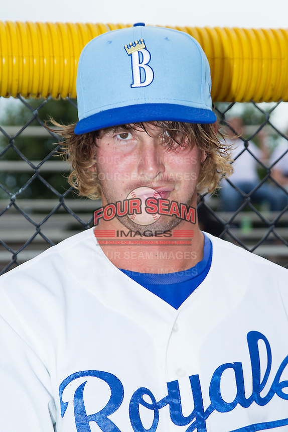 Niklas Stephenson (25) of the Burlington Royals poses for a photo prior to the game against the Princeton Rays at Burlington Athletic Park on July 9, 2014 in Burlington, North Carolina.  The Rays defeated the Royals 3-0.  (Brian Westerholt/Four Seam Images)