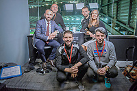 Mark Williams, Adam Stepien, Leon Britton, Sioned Dafydd and Ewan Donaldson at the broadcast suite and studio for the Swansea City AFC live broadcasts at the Liberty Stadium, Wales, UK. Wednesday 30 November 2018
