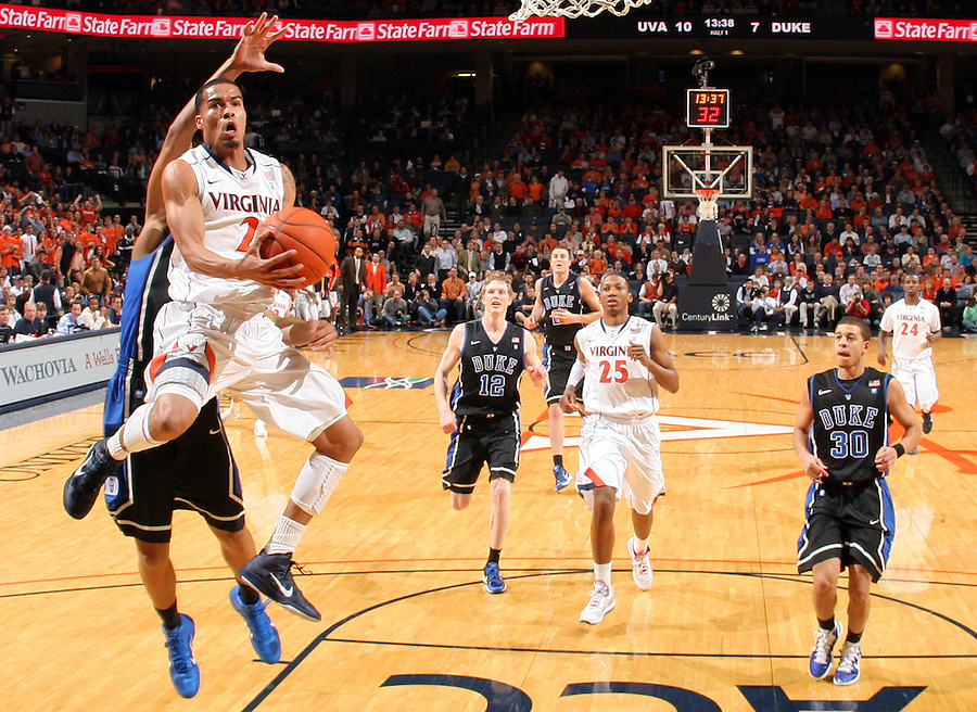 Feb. 16, 2011; Charlottesville, VA, USA; Virginia Cavaliers guard Mustapha Farrakhan (2) breaks away to the basket in front of Duke Blue Devils defenders during the second half of the game at the John Paul Jones Arena. The Duke Blue Devils won 56-41. Credit Image: © Andrew Shurtleff