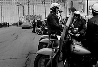 April 24, 1975 File Photo - Police watch over the picket line at Montreal Port