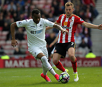 SUNDERLAND, ENGLAND - MAY 13: (L-R) Jordan Ayew of Swansea City is chased by Seb Larsson of Sunderland during the Premier League match between Sunderland and Swansea City at the Stadium of Light, Sunderland, England, UK. Saturday 13 May 2017