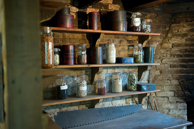 Jars of seeds in the office of the head gardener, Heligan, Cornwall, mid February.