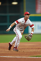 Jonathan Windham (12) of the Louisiana Ragin' Cajuns on defense against the Vanderbilt Commodores in game five of the 2018 Shriners Hospitals for Children College Classic at Minute Maid Park on March 3, 2018 in Houston, Texas.  The Ragin' Cajuns defeated the Commodores 3-0.  (Brian Westerholt/Four Seam Images)
