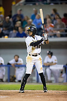 Rubi Silva (12) of the Sussex County Miners at bat against the New Jersey Jackals at Skylands Stadium on July 29, 2017 in Augusta, New Jersey.  The Miners defeated the Jackals 7-0.  (Brian Westerholt/Four Seam Images)