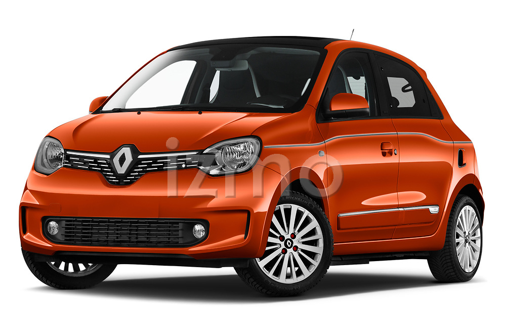 Stock pictures of low aggressive front three quarter view of 2021 Renault Twingo-Electric Vibes 5 Door Hatchback Low Aggressive