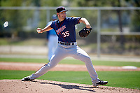 Minnesota Twins pitcher Landon Leach (35) during a Minor League Spring Training game against the Tampa Bay Rays on March 17, 2018 at CenturyLink Sports Complex in Fort Myers, Florida.  (Mike Janes/Four Seam Images)