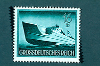 stamp depicting a torpedo boat, S 57 schnellboot, sank 1944, Peljesac Peninsula, Croatia, Adriatic Sea, Mediterranean