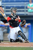 Batavia Muckdogs catcher Sharif Othman (7) during a game against the Tri-City ValleyCats on July 14, 2013 at Dwyer Stadium in Batavia, New York.  Tri-City defeated Batavia 7-0.  (Mike Janes/Four Seam Images)