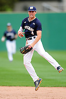 Notre Dame Fighting Irish shortstop Lane Richards (4) during a game versus the Boston College Eagles at Pellagrini Diamond at Shea Field on May 15, 2015 in Chestnut Hill, Massachusetts.  (Ken Babbitt/Four Seam Images)