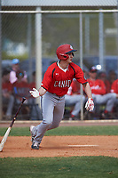 Canada Junior National Team Giordano Mezzomo (28) bats during an exhibition game against the Toronto Blue Jays on March 8, 2020 at Baseball City in St. Petersburg, Florida.  (Mike Janes/Four Seam Images)