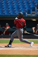 Kahlil Watson (9) of Wake Forest HS in Wake Forest, NC playing for the Arizona Diamondbacks scout team during the East Coast Pro Showcase at the Hoover Met Complex on August 4, 2020 in Hoover, AL. (Brian Westerholt/Four Seam Images)
