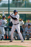 Detroit Tigers third baseman Daniel Pinero (34) at bat during a Florida Instructional League game against the Pittsburgh Pirates on October 2, 2018 at the Pirate City in Bradenton, Florida.  (Mike Janes/Four Seam Images)