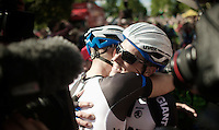 stage winner Marcel Kittel (DEU/Giant-Shimano) is very emotional and hugs his buddy and teammate Koen De Kort (NLD/Giant-Shimano) after the finish line<br /> <br /> 2014 Tour de France<br /> stage 1: Leeds - Harrogate (190.5km)